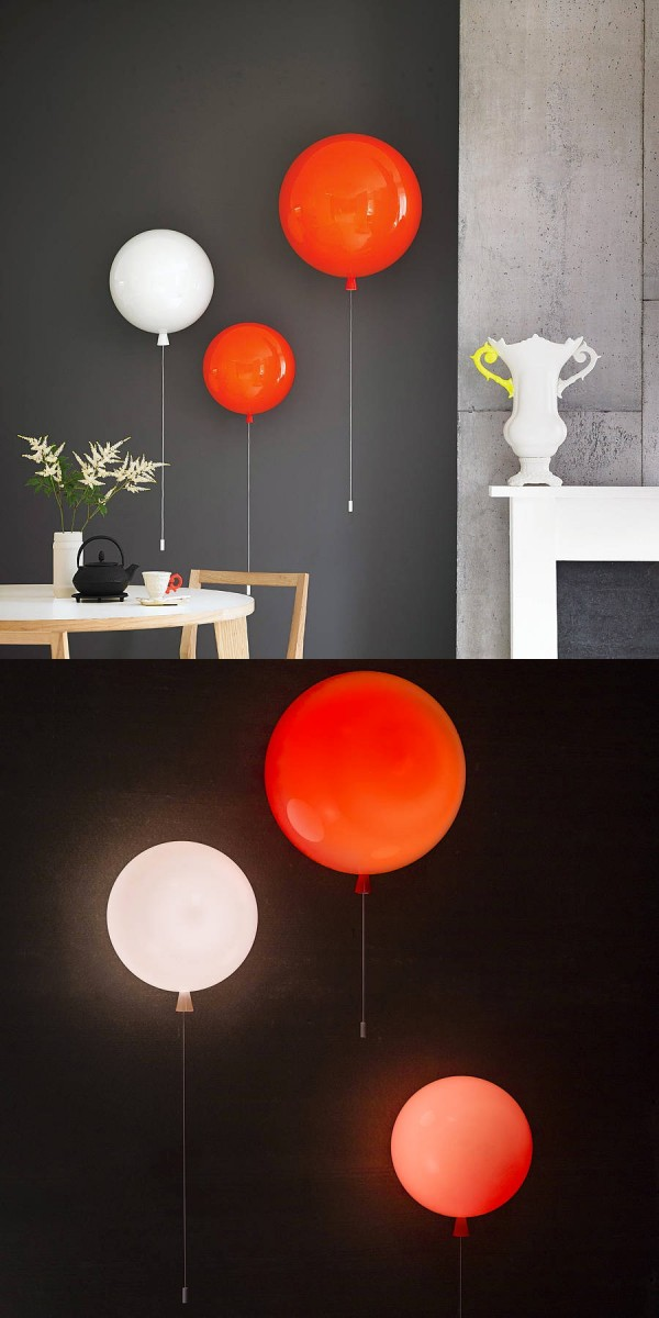 """These balloon wall lights use the """"balloon string"""" as the pull switch and are available for sale online."""
