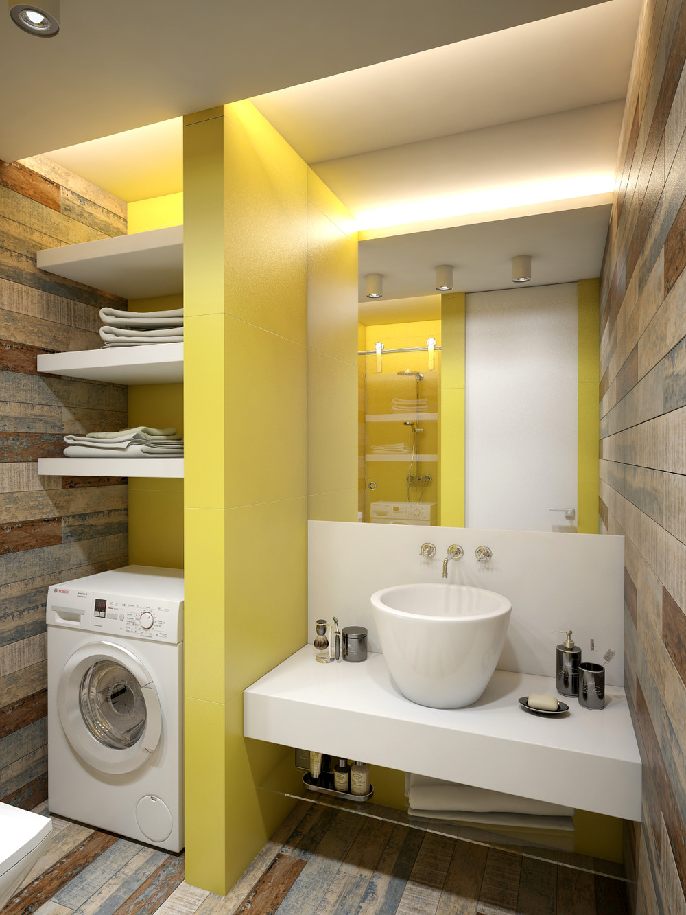 3 open studio apartment designs for Studio apartment bathroom design ideas