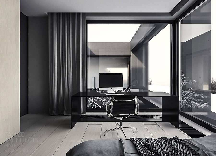Black Desk - A single family home interior in cool shades of gray