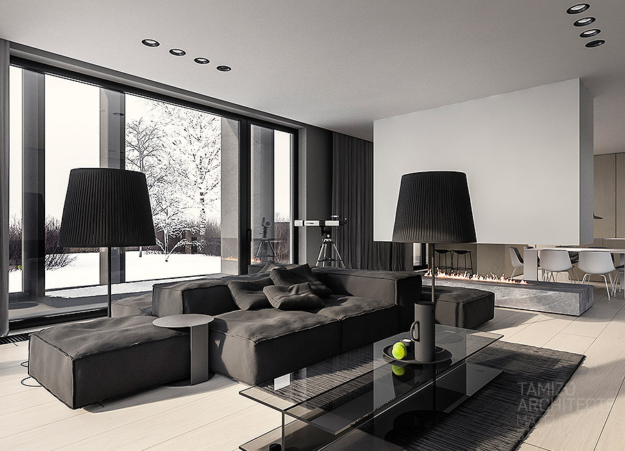 Black Lamps - A single family home interior in cool shades of gray