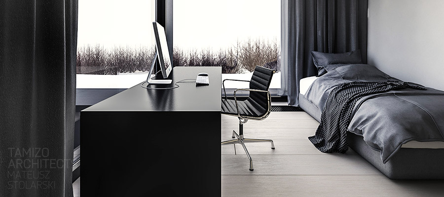 Black Office Chair - A single family home interior in cool shades of gray