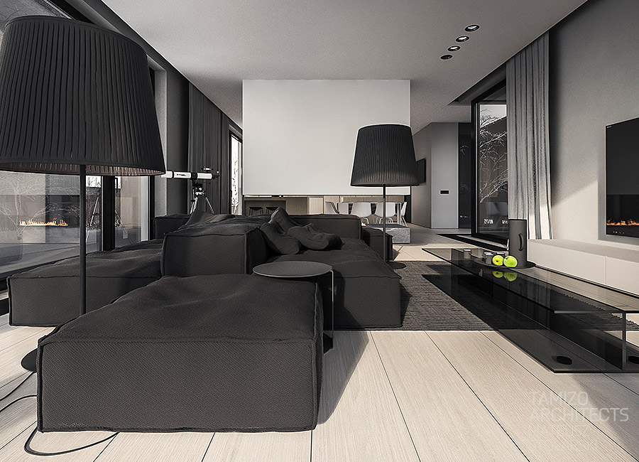 Black Sofa - A single family home interior in cool shades of gray