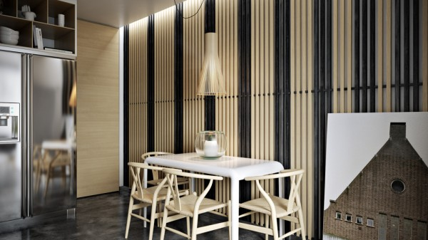 The next home comes from visualizer Paul Winds. Here, instead of using slats in a uniform color, the designer has created a striped effect through the use of both bare and painted wood.