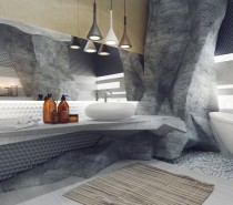 The first bathroom is a visualization of a bathroom carved into rock, giving the space the feeling and appearance of being located in a cave. The craggy walls stand in contrast but also harmony with the smooth ceramic fixtures, which represent the way in which natural caves and rocks are worn away to a shine over thousands of years.