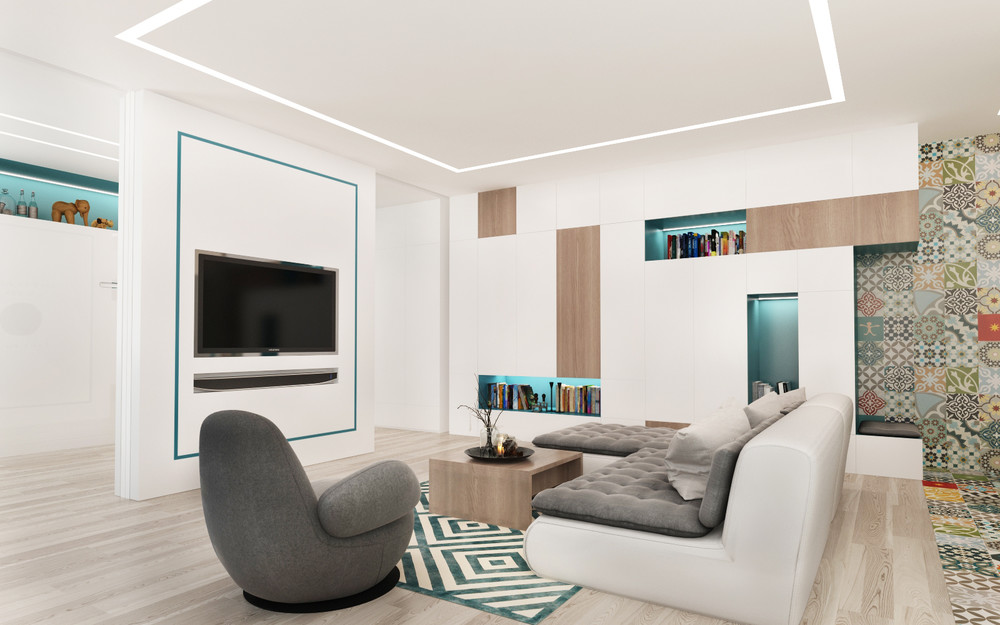 4 small studio apartments decorated in 4 different styles for Living room 10 square meters