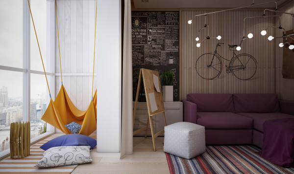 The next room would perhaps be best suited to an older girl and comes from designer Masha Gluzdakova. The room is large enough to serve as a complete retreat, to host sleepovers, and generally allow a teenager to retreat from the world as they are wont to do. The sunny reading nook is particularly inviting, with a cozy, brightly colored hammock and a few comfy pillows.