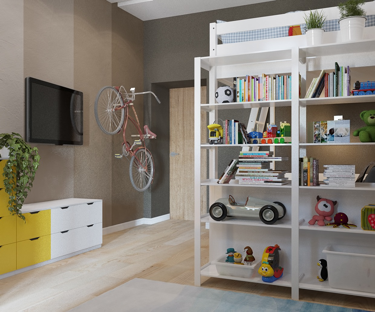Colorful kids rooms with plenty of playful style for Creative bike storage