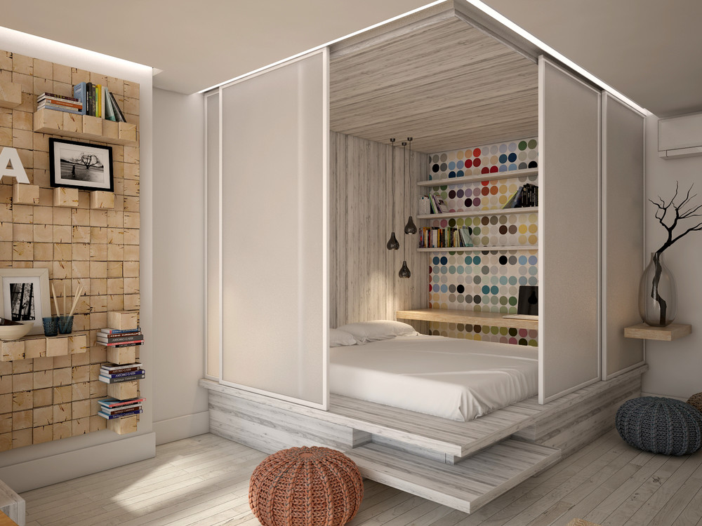 3 open studio apartment designs for Very small studio apartment ideas