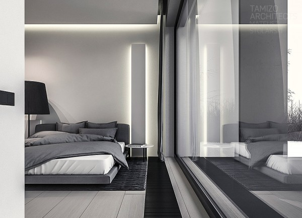 In the bedrooms, the tone shifts from the darker gray of the living room to a lighter gray that calls to mind silver and cashmere. In short, it's a luxurious and calming palette, perfect for drifting off to sleep on a drizzly cloudy evening.