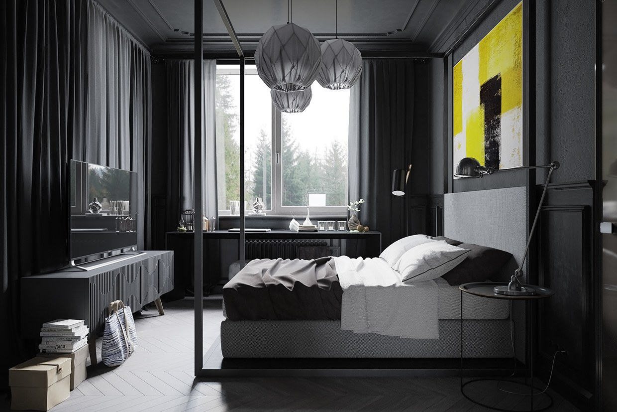 A hipster inspired design concept for russian gaming for Bedroom ideas dark grey