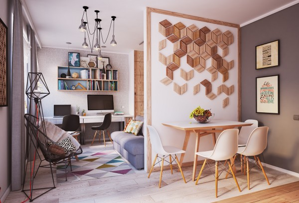 The first space is an apartment in Lviv, Ukraine from the team at Grits Creative Group. The home is only 40 square meters (430 square feet) but still manages to have the requisite areas for a young, creative family.