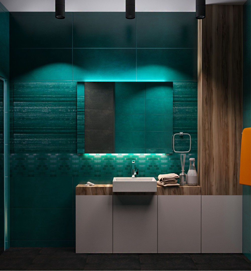 Green Tile Bathroom - Creative apartment designs perfect for young families