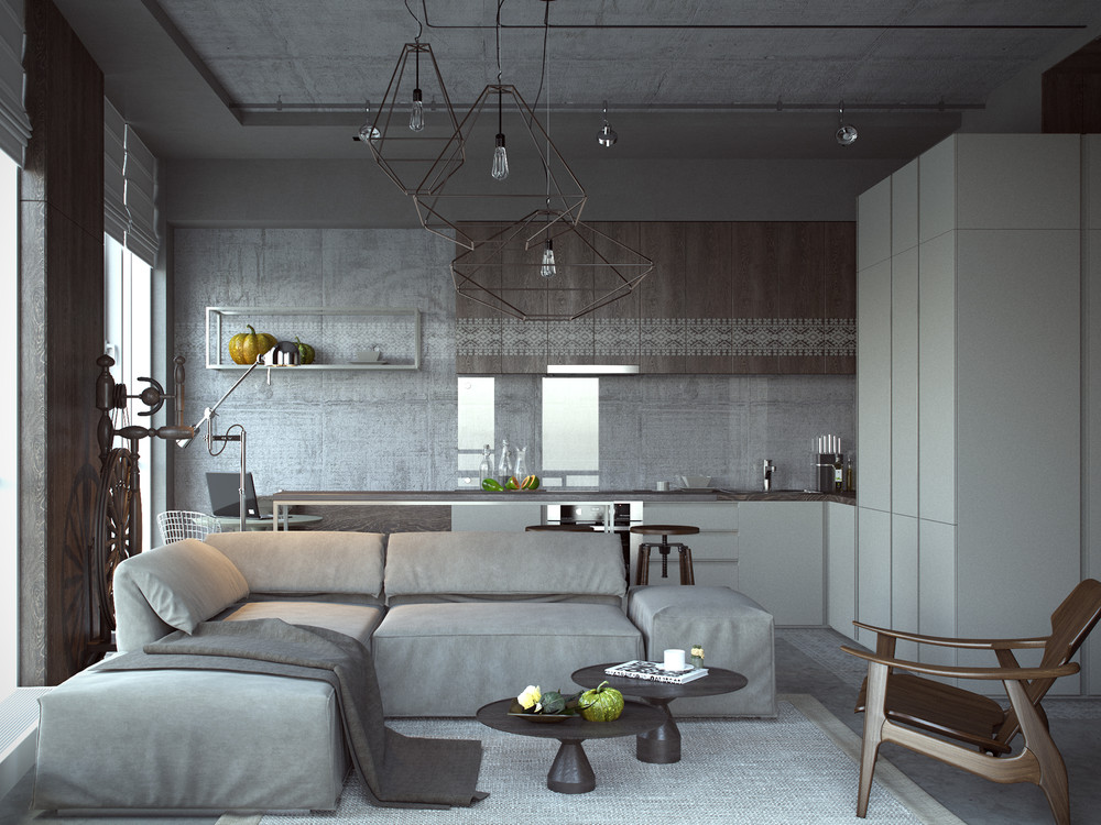Image gallery industrial studio apartment for Studio apartment interior