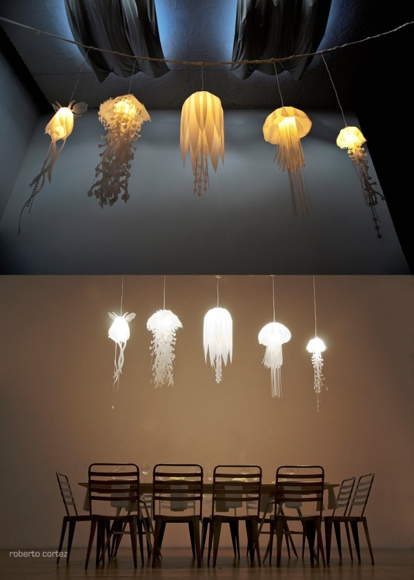 What better way to bring the deep blue sea into your above ground home than with these jellyfish lamps?