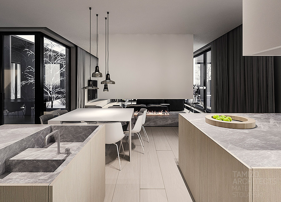 Light Wood Kitchen Design - A single family home interior in cool shades of gray