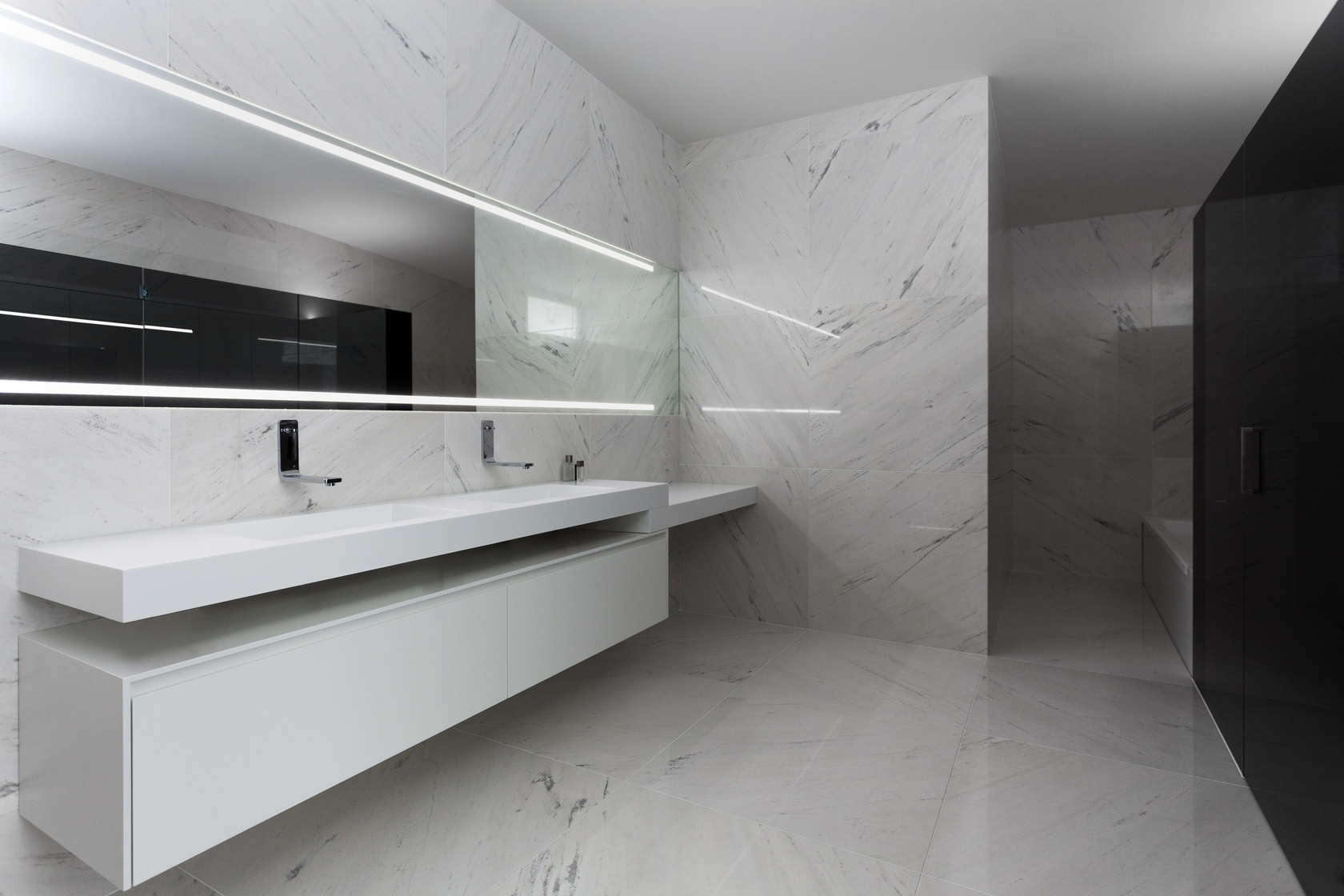 Marble Bathroom Design - Golf course views and a striking exterior make for a modern marvel