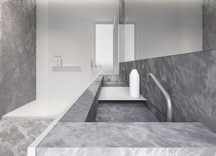 Marble Sink - A single family home interior in cool shades of gray
