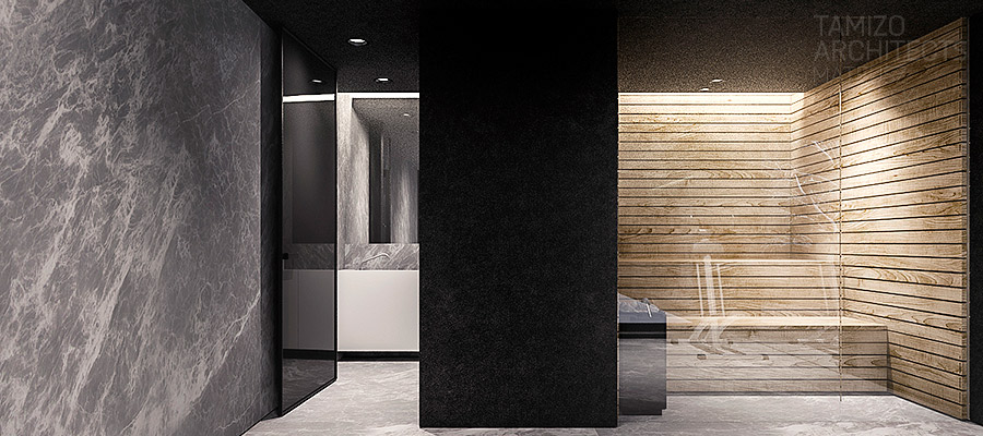 Private Sauna - A single family home interior in cool shades of gray