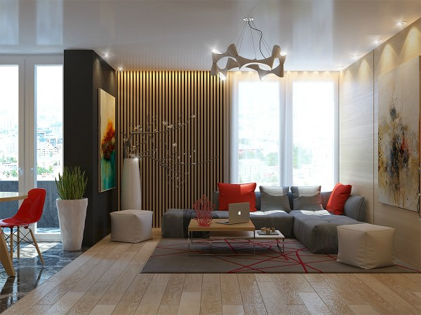 The second home comes from the same designer, though the use of the slats is somewhat more subtle in this space. The slats play with the other uses of bare, natural wood throughout the home from the kitchen table and chairs to the cabinetry.
