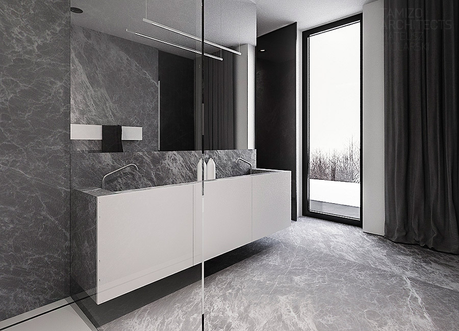 Slick Marble Bath - A single family home interior in cool shades of gray