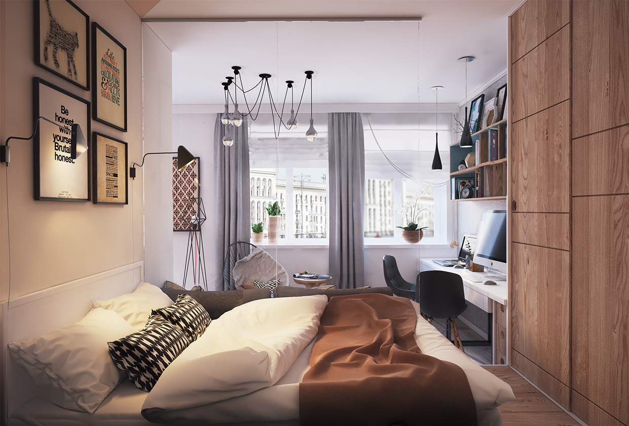 Living small with style 2 beautiful small apartment plans for Small studio bedroom ideas