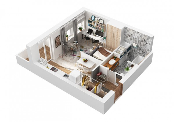 Living small with style 2 beautiful small apartment plans for Amenagement appartement 30 m2