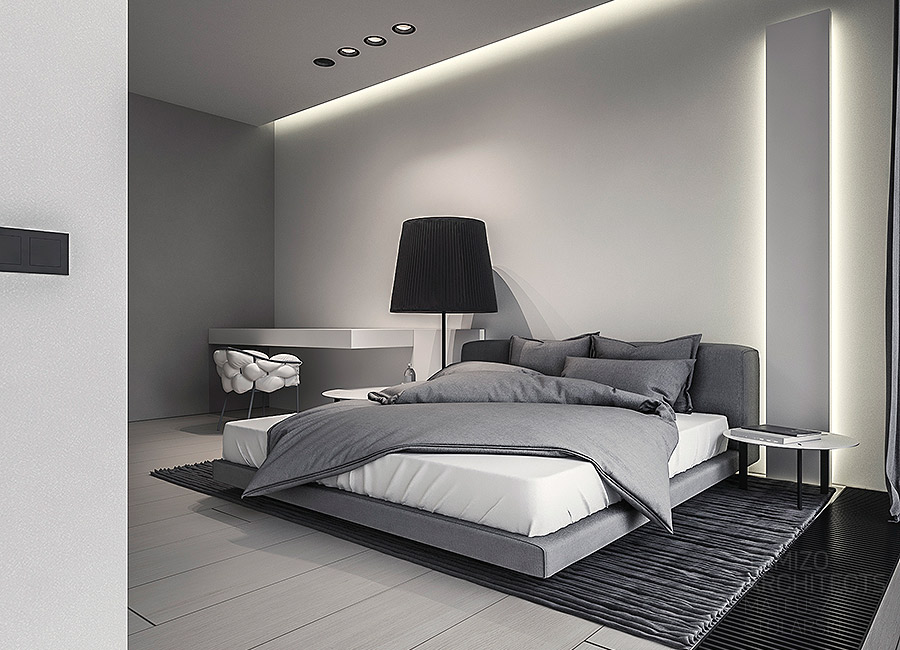 Soft Gray Bedding - A single family home interior in cool shades of gray
