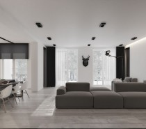The main living area includes a large seating area as well as a desk and breakfast bar. There are no walls or other division between the spaces. Rather, the carefully chosen furnishings create a visual division with a low angular sofa dominating the entertaining space and white molded chairs positioned on either side for the home office and kitchen area.