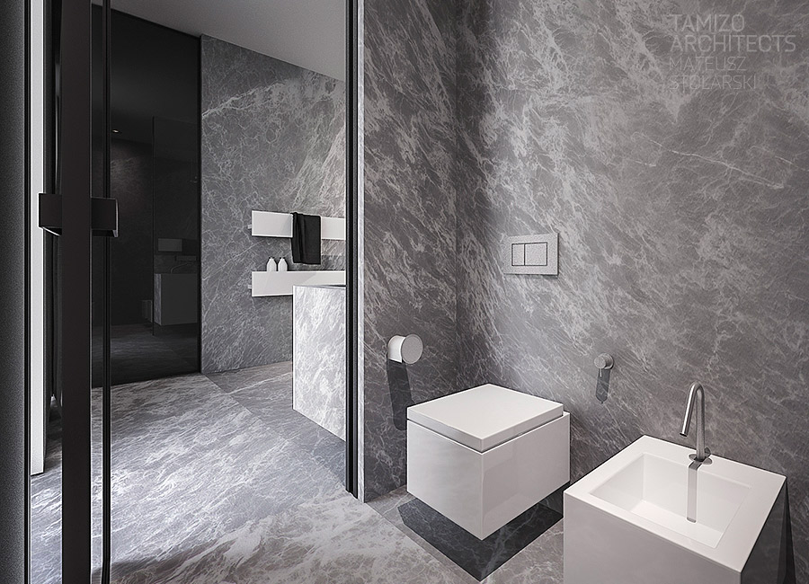 Square Toilet - A single family home interior in cool shades of gray