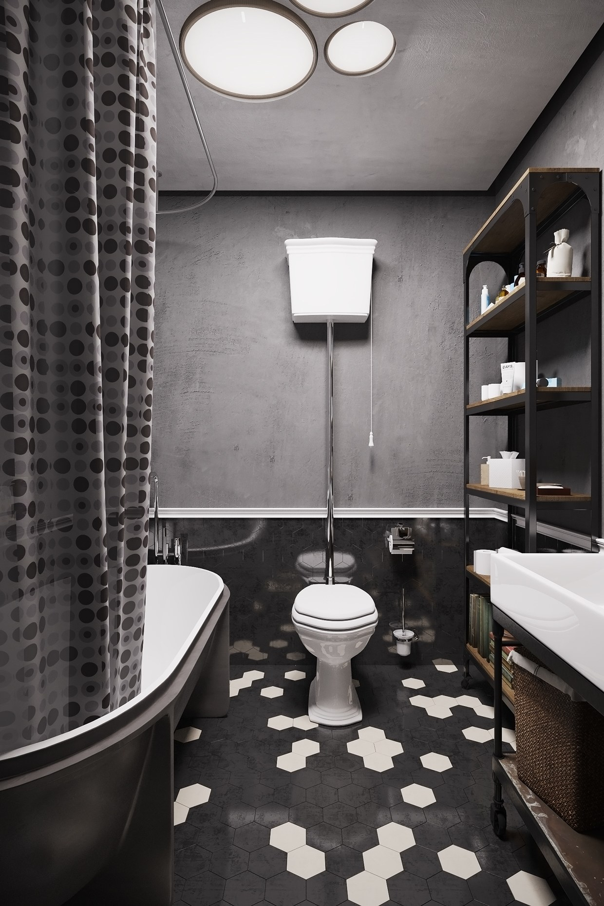 Tiled Bathroom - A hipster inspired design concept for russian gaming magazine editor