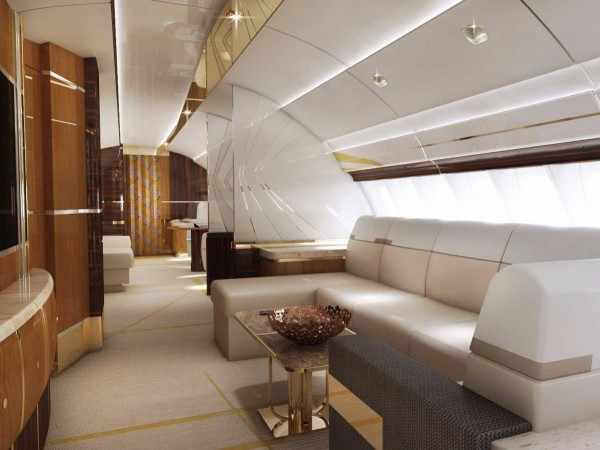 Finally, the 747-8 also has a lounge on the second level, adding another  393 square feet of lounging capabilities.