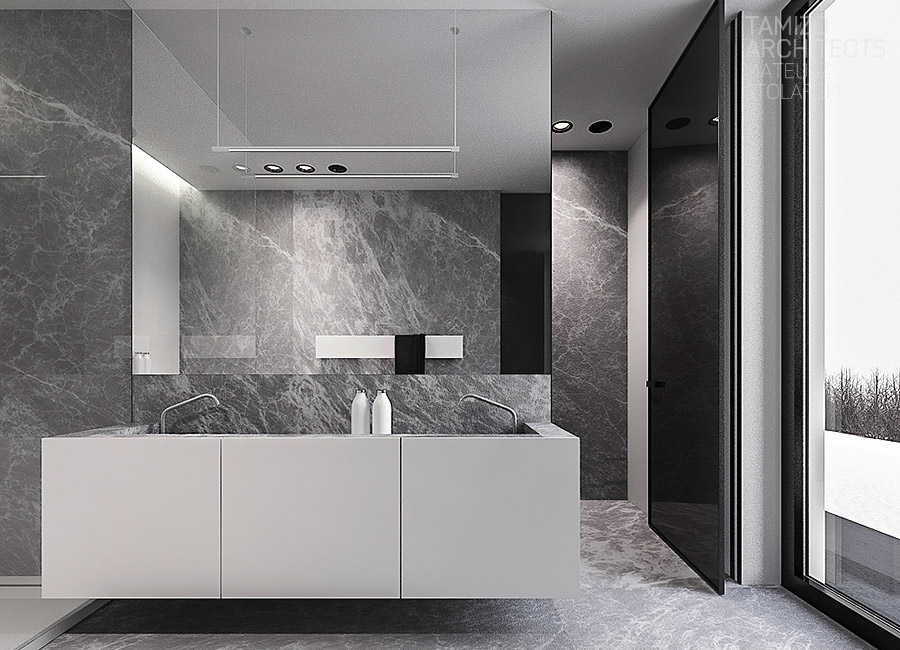 White Bathroom Ideas - A single family home interior in cool shades of gray