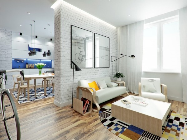 """The second apartment, known """"Nest,"""" comes from designer Anton Sevastyanov. The 43.5 square meter (468 square feet) space is for an active young man who has a passion for sports, music, and photography."""
