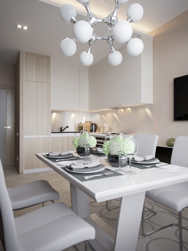 Amazing Small Kitchen Design. White Leather Chairs