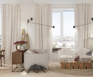 The first space comes from visualizer Polina Kazakova. The light colors and airy textures, plus plenty of natural light make for a sweet and feminine atmosphere throughout. A cozy living room offers seating for a few special guests while vaulted bedroom ceilings and large windows create a space where anyone - man or woman - would be lucky to wake up. Patterns are also essential in this apartment, from the intricate tiled floor in the bedroom to the creative wood accent wall in the enviable bathroom.
