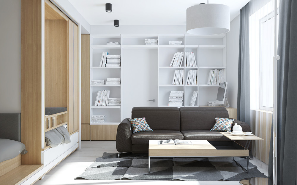 White Shelving - Creative apartment designs perfect for young families