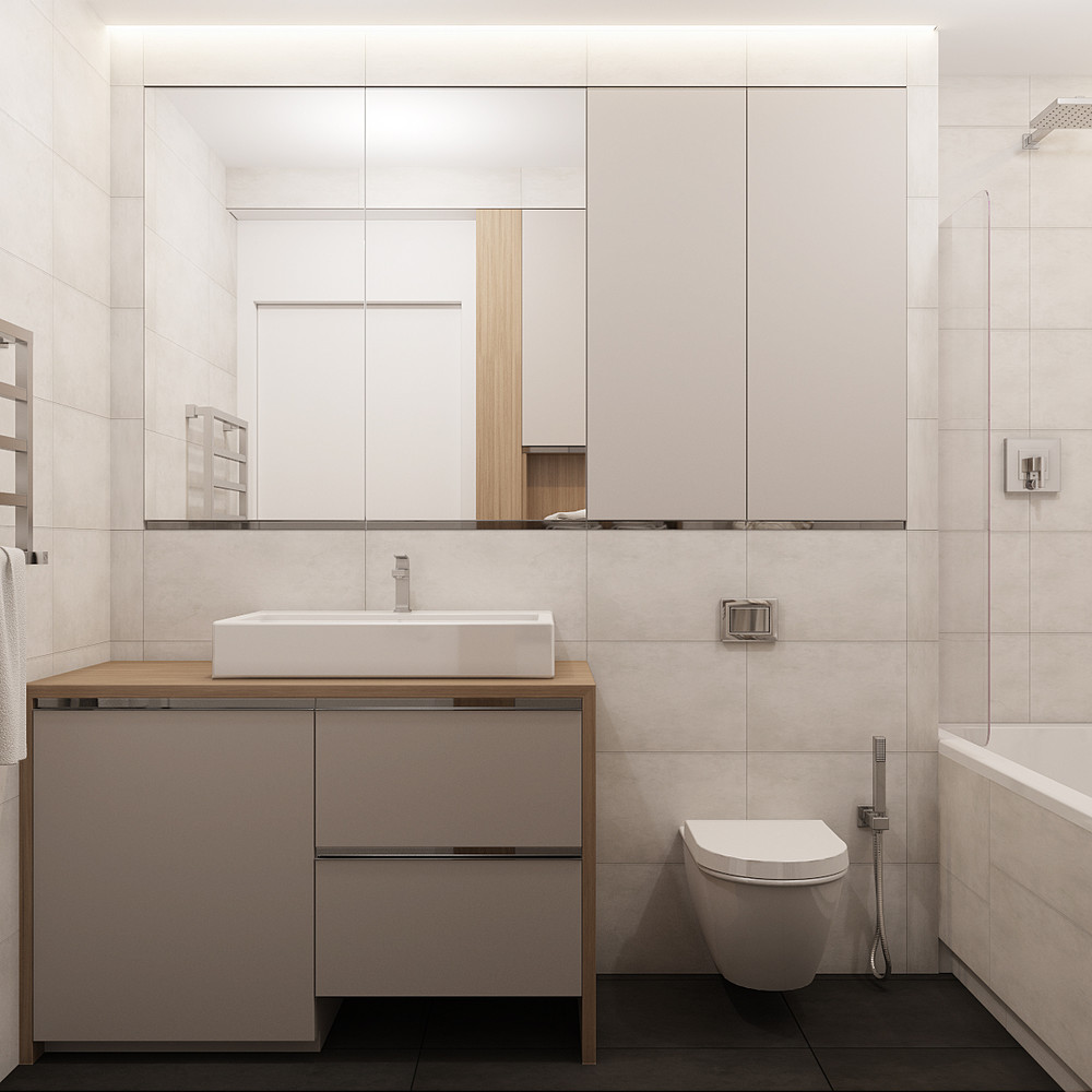 White Stone Bathroom - Creative apartment designs perfect for young families