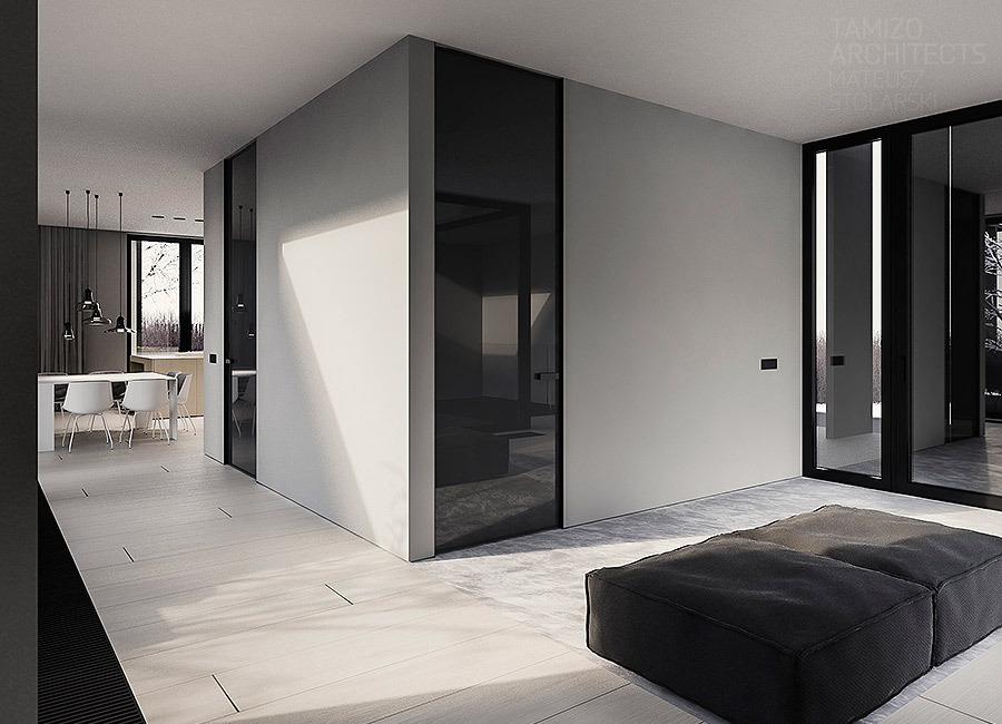 White Wall Design - A single family home interior in cool shades of gray