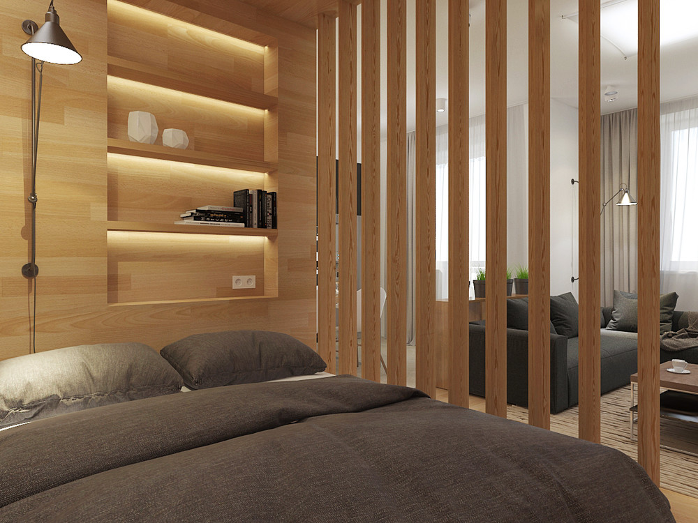 Small smart studios with slick simple designs for The room partition