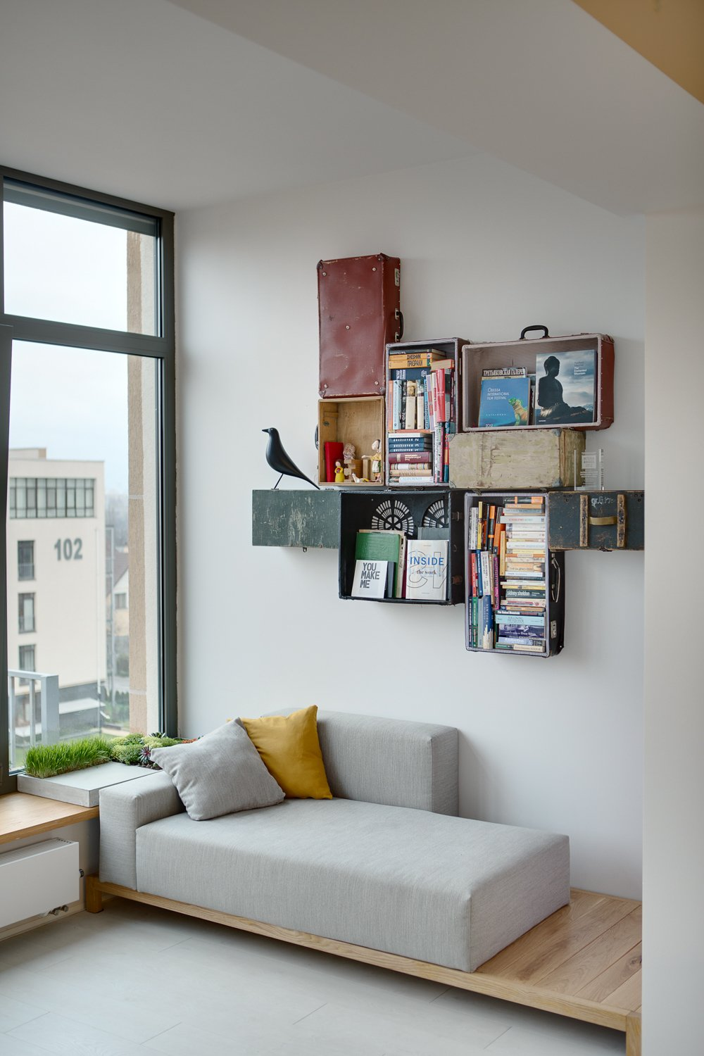 DIY Suitcase Shelves - A modern home with personality of perfect for a fun couple