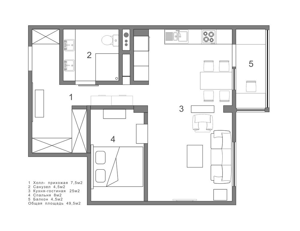 2 single bedroom apartment designs under 75 square meters for Small apartment layout ideas