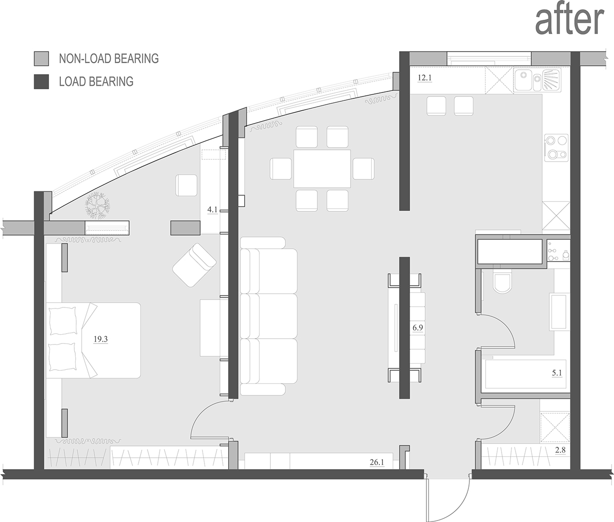 2 single bedroom apartment designs under 75 square meters for Design layout 2 bedroom flat