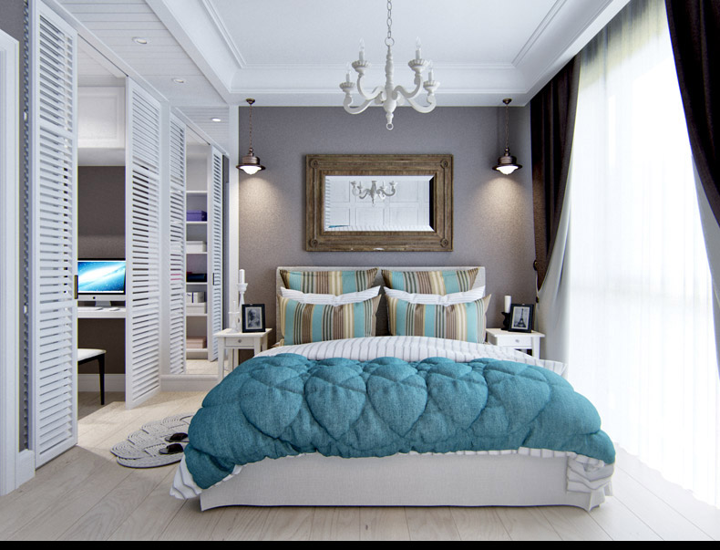Aqua Bedroom - 2 provence style apartment designs with floor plans