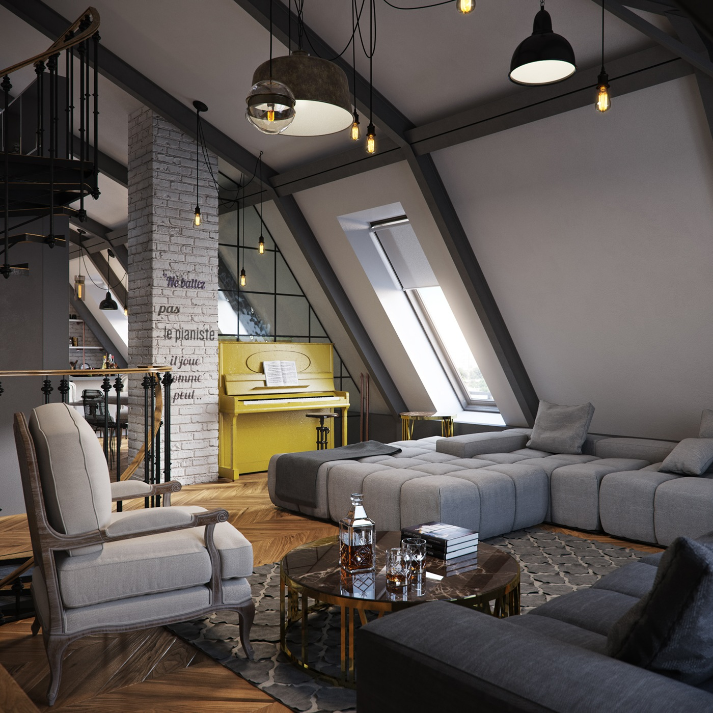 three dark colored loft apartments with exposed brick walls