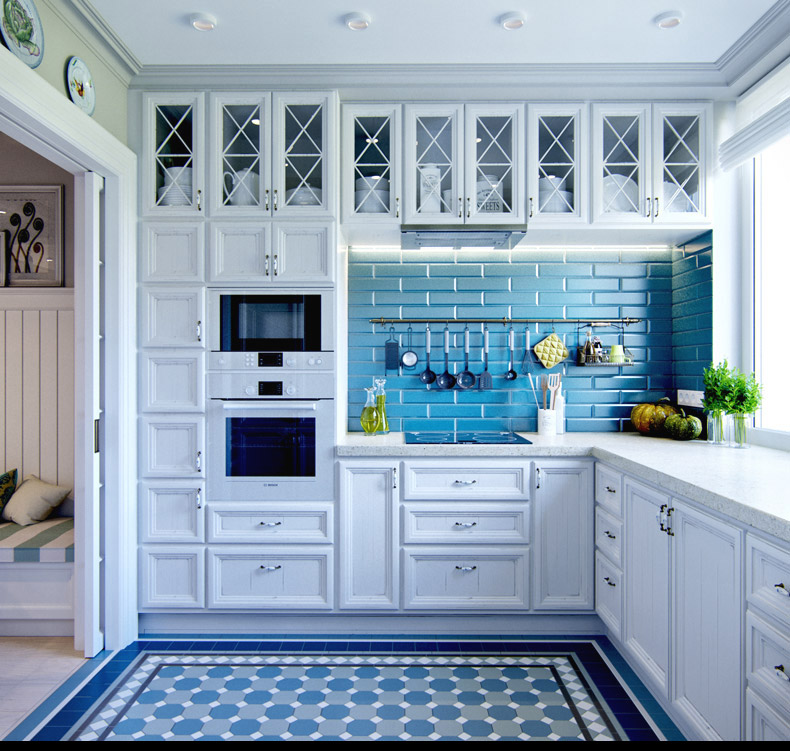 Blue Backsplash - 2 provence style apartment designs with floor plans