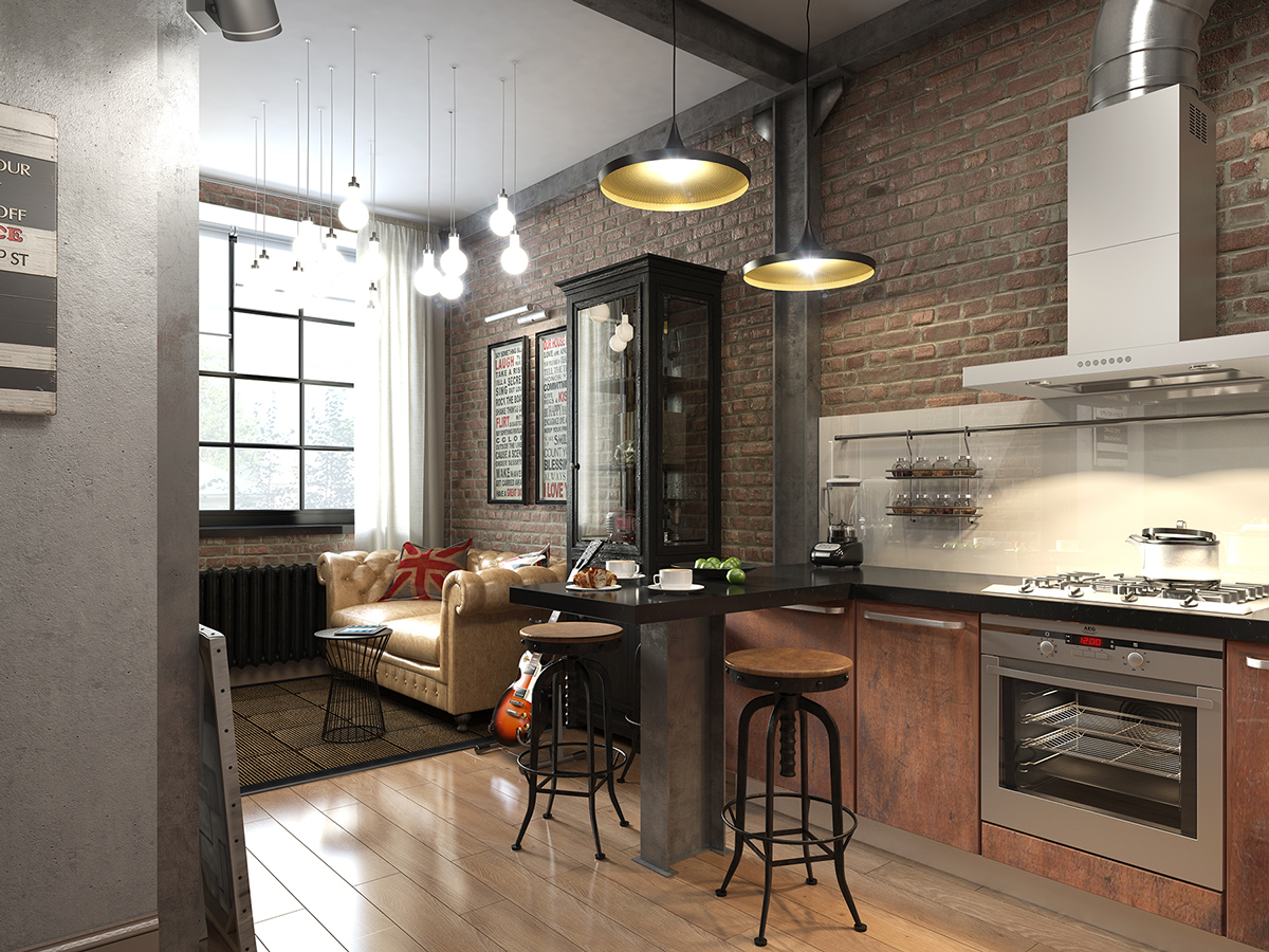 Three dark colored loft apartments with exposed brick walls for Industrial style kitchen designs