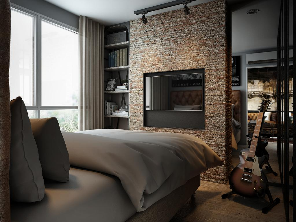 Three dark colored loft apartments with exposed brick walls - Paredes de ladrillo ...