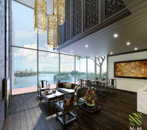 The final apartment comes from Vietnam and the southeast Asian influence is unmistakable. Intricate light fixtures and carefully carved cabinetry play well with Vietnamese ceramics. The space opens up into an elegant outdoor area that truly takes advantage of the tropical surroundings.
