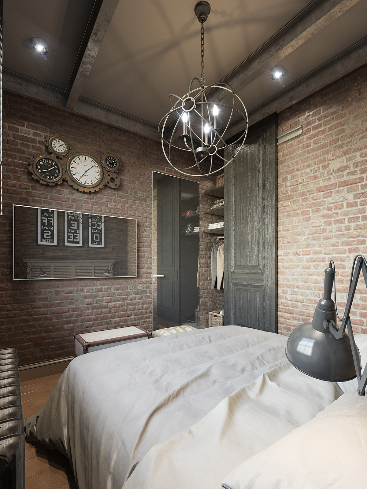 Three dark colored loft apartments with exposed brick walls for Bedroom ideas industrial