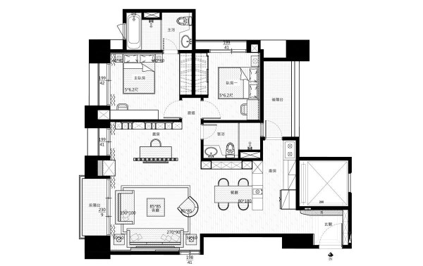 The floor plan clearly shows the smart usage of space between two bedrooms, two bathrooms, and common living space. Yes, we think Don would be a fan of this bachelor pad.